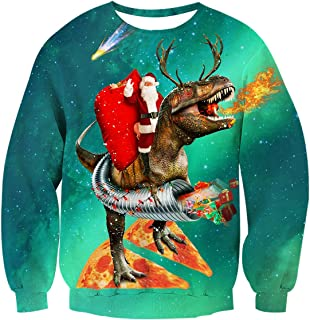 AIDEAONE Unisex Ugly Christmas Sweatshirts 3D Printed Pullover Long Sleeve Sweater Shirts