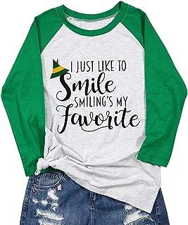 I Like to Smile Smilings My Favorite Shirt Christmas Women Cute Elf Hat Graphic Print Splicing Sleeve Tshirt