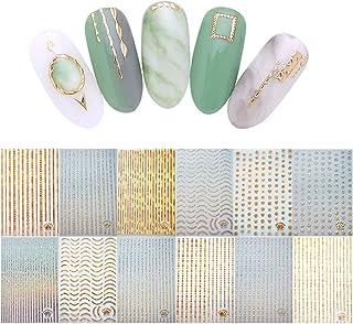 100+ Patronen Goud Zilver 3D Laser Metallic Nagelstickers, Kalolary Noble Metallic Kettingen Lijn Golf Punt Sterren Nagel ...