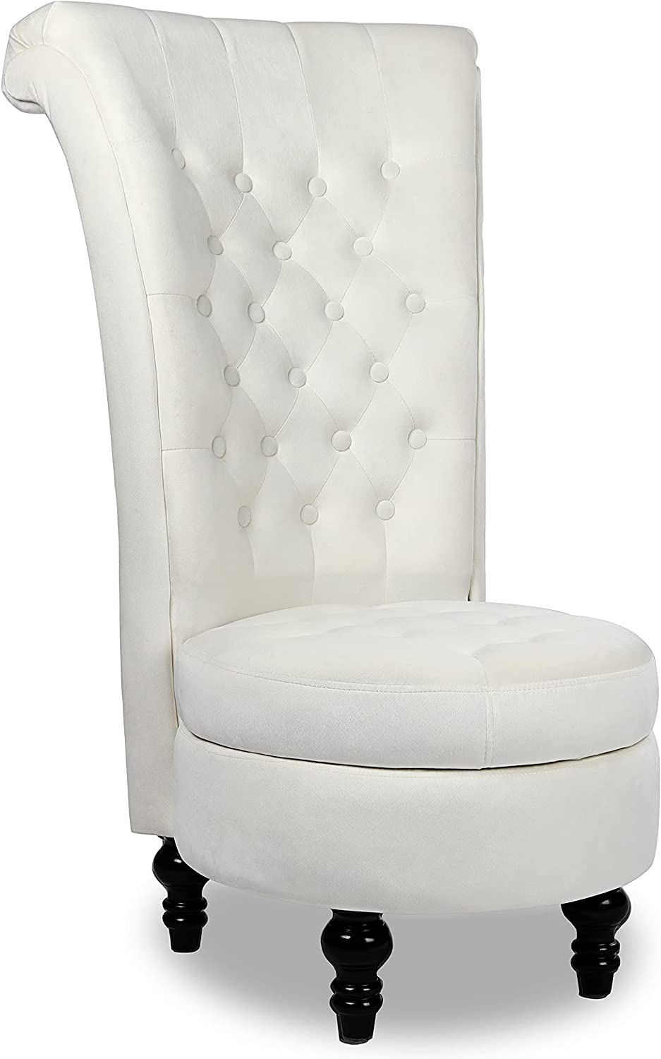 MU Dutch Velvet High Back Armless Chair, Retro Elegant Throne Chair, Upholstered Tufted Accent Seat with Storage for Living Room, Bedroom, Cream White, 2021 New