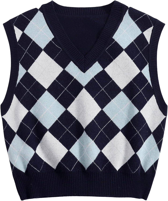 MakeMeChic Women's V Neck Sleeveless Argyle Print Sweater Vest Crop Top