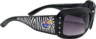 Sports Accessory Store Kansas Jayhawks KU Black Zebra Print Clear Crystals Womens Fashion Sunglasses S4ZB