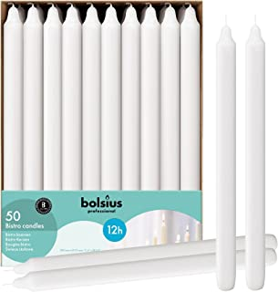 BOLSIUS Long Household White Table Candle - Approx 12 inch