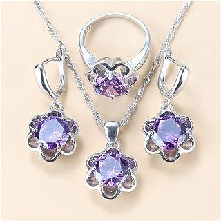 طقم ملابس النساء مجوهرات الزفاف هدية أقراط فضية وأقراط مجوهرات يانجين (اللون : C 3 قطع، الحجم: 9)