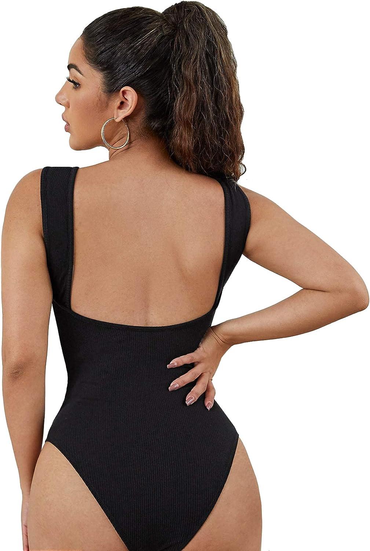 SheIn Women's Sleeveless Scoop Neck Rib Knit Backless Skinny Bodysuit Shirt