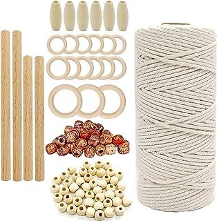 DIY naturalny sznurek makramowy 3 mm z 100 drewnianymi koralikami zestaw makramowy do robienia na drutach dla początkujący...