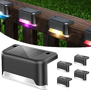 Lot de 4 Lumières Solaires D'escalier Couleur, Colorée Lampe Solaire Extérieur IP65 étanche Lumière de Traînée Solaire App...