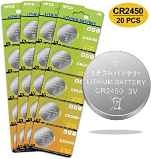 CR2450 Battery 3v Lithium Coin Cell Batteries - High Capacity 700mAh Button Cell Battery 3 Volt CR2450 Batteries for Flameless Tea Light Candles, Remote, Window Sensor 20 Pack