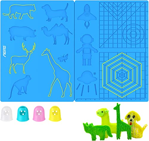 Aerb 3D Pen Mat, Large Multi-Shaped Silicone 3D Printing Pen Basic Template Printing Mat with 4 Finger Protectors, Gi...