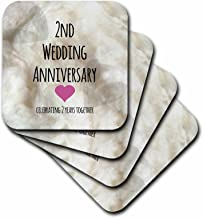 3dRose CST_154429_1 2Nd Wedding Cotton Celebrating 2 Years Together Second Anniversaries Two Yrs Soft Coasters, Set of 4