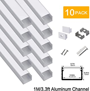hunhun 10-Pack 3.3ft/1Meter Plus-Size U Shape LED Aluminum Channel System with Milky Cover, End Caps and Mounting Clips, Aluminum Profile for LED Strip Light, Special for Philips Hue Strip