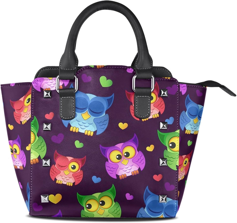 My Little Nest Women's Top Handle Satchel Handbag Owls Hearts Ladies PU Leather Shoulder Bag Crossbody Bag