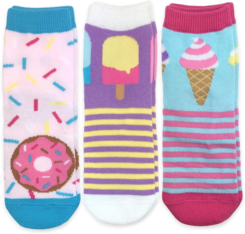 Jefferies Socks Girls' Donut Popsicle Ice Cream Novelty Crew Socks 3 Pack