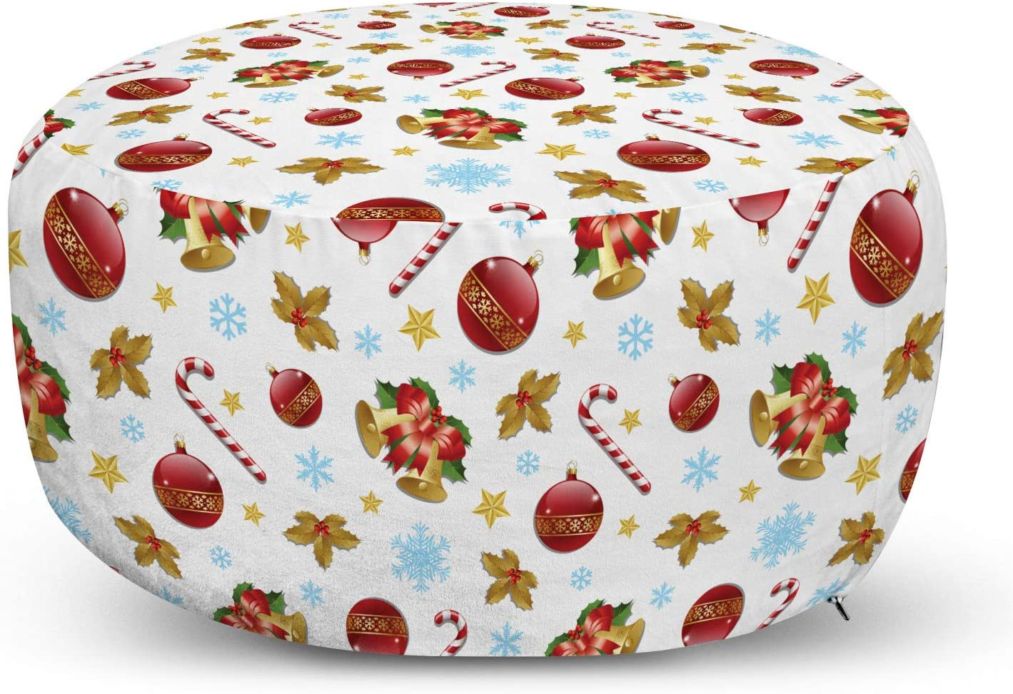 Ambesonne Christmas Pouf Cover with T Yuletide Detroit Mall 4 years warranty Zipper Noel Xmas