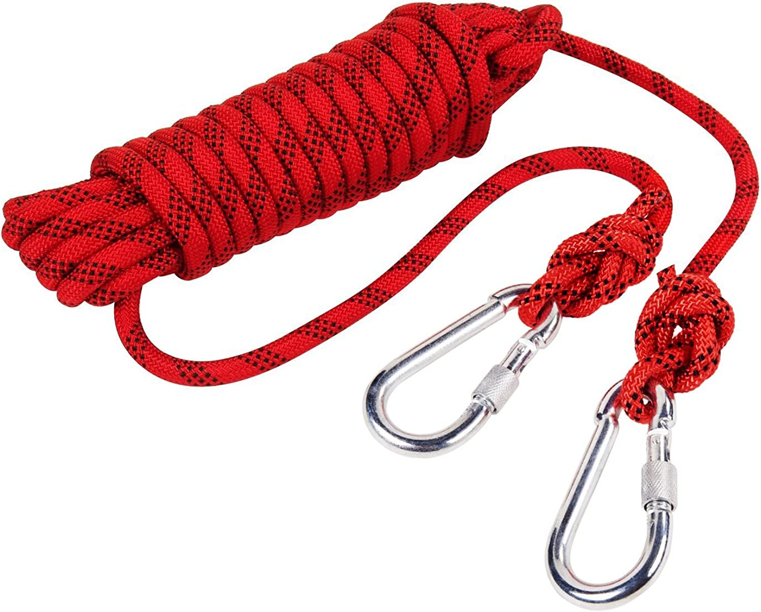 Outdoor Rock Climbing Safety Rope 10M(32ft) 15M(49ft) 20M(64ft) 30M (98ft) with Hooks, Diameter 8mm(0.03ft), 9KN(900kg), for Outdoor Escape Rope, Camping Hiking Rope, Fire Rescue Parachute