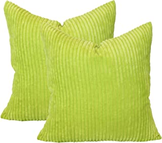 sykting Square Pillow Covers Super Soft Striped Textured Velvet Corduroy Cushion Cases Decorative 18 x 18 Pack of 2 Green