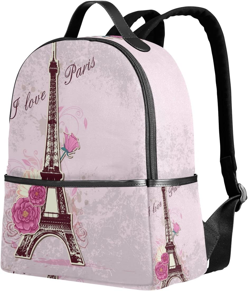 Cheap SALE Start Use4 I Paris Eiffel Tower Max 42% OFF France Polyester Rose Flower Pink Back