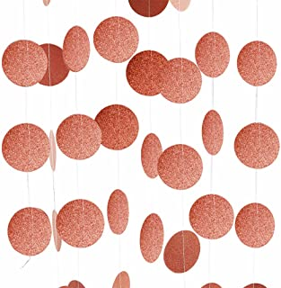 Threemart Rose Gold Party Supplies Rose Gold Glitter Grand Paper Dots Hanging For Bachelorette,Wedding, Birthday Party Decoration-4 Pack
