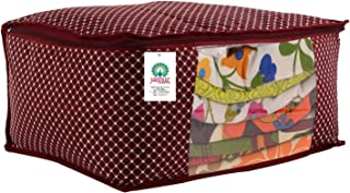 JaipurCrafts Quilted Polka Dots Cotton Saree Cover Set, Maroon (45 x 30 x 20 cm) (Pack of 1)