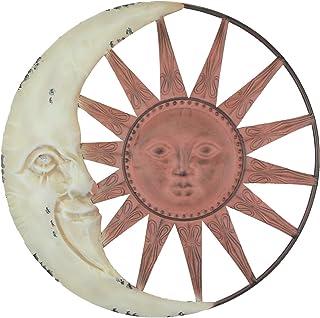 Chesapeake Bay Ltd Distressed Tuscan Enamel Finish Metal Celestial Sun and Moon Indoor Outdoor Wall Art