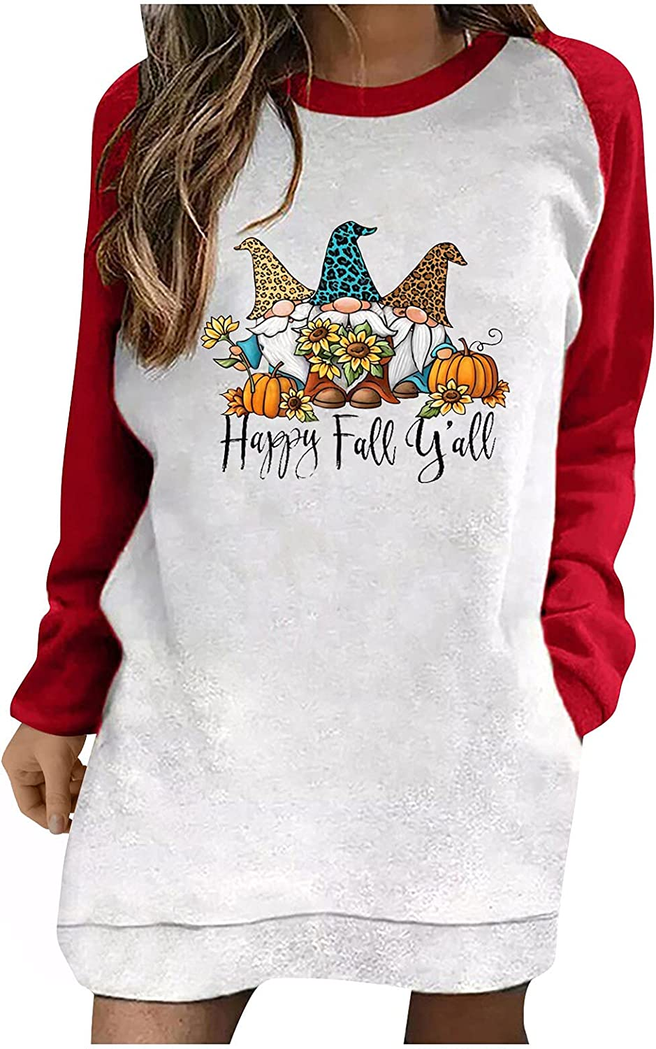 Women Halloween Casual Color Block Round-Neck Long Sleeve Graphic Pullovers Loose Tops Sweatshirts Hoodie Blouse