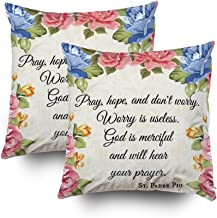 EMMTEEY Home Decor Throw Pillowcase for Sofa Cushion Cover,pray hope dont worry saint padre pio ros Decorative Square Accent Zippered and Double Sided Printing Pillow Case Covers 16X16Inch,Set of 2