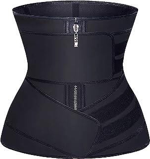 YIANNA Women Waist Trainer Zipper and Strap Jsculpt Latex Fajas Workout Training Corsets Belly Belt Sports Girdle, YA2223-...