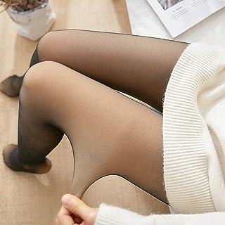 Godob Kvinnor förtjockade leggings, ben falska genomskinliga varma fleece-strumpbyxor kvinnor fleecefodrade tjocka strumpb...