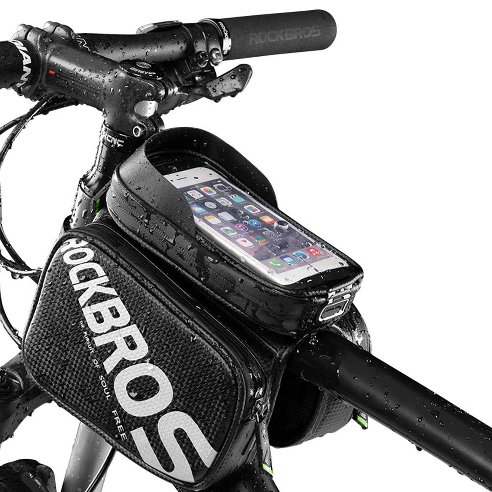 Rockbros Bike Phone Bag Waterproof Bicycle Top Tube Bag Mountain Bike Front Frame Bag Pannier Bag Touch Screen Phone Case Compatible With Iphone Xr 8 Plus 7 6s Buy Online In Aruba