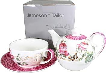 modelo /« Flores y Palomas /» Rosa Conjunto de Tetera y de 4 Tazas de porcelana brillante Resistente a los lavajillas y microondas Jameson /& Tailor