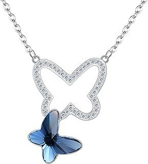 64278a641ebed Clearine Femme 925 Argent Sterling Zircon Papillon Cristal Pendentif Collier  Elégant