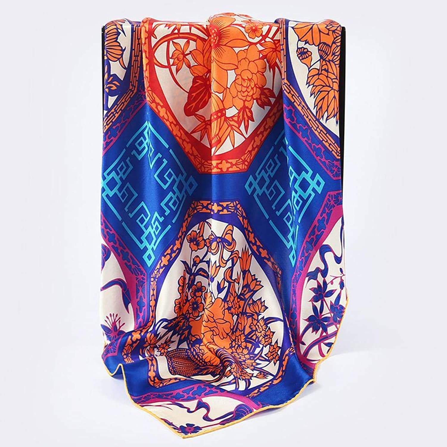 Weiwei Ladies Silk Shawl 100% Silk Satin Scarf Small Shawl Send Family Friend 90cm90cm