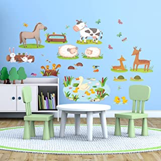DECOWALL DW-1403 Field of Animals Kids Wall Stickers Decals Peel and Stick Removable for Nursery Bedroom Living Room Art murals Decorations