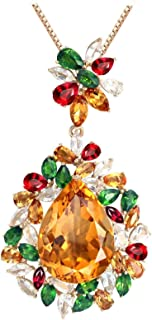 Jewelry 18K Gold Pendant Necklaces For Girl Teardrop Flower Stone 18Ct Enagement Promise Chain Necklaces Multi