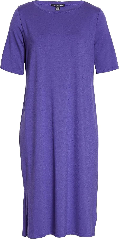 Eileen Fisher Women's Crewneck Jersey T-Shirt Dress