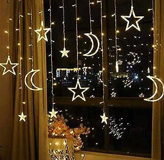 SKEIDO Moon Star Curtain Lights LED String Lights for Holiday Wedding Party Decoration Lights 220V-EU Plug