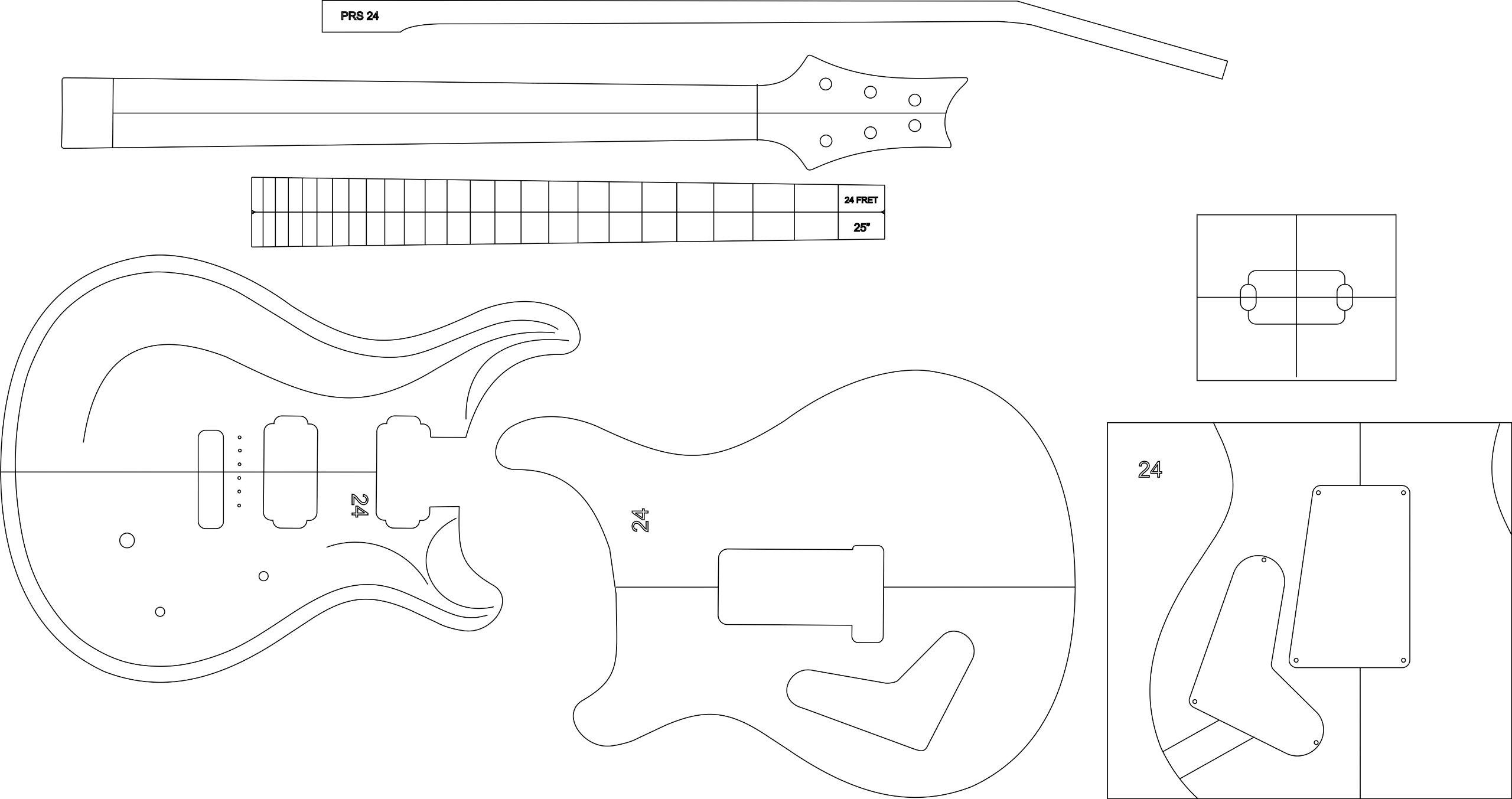 Guitarra eléctrica enrutamiento plantilla – prs24: Amazon.es ...