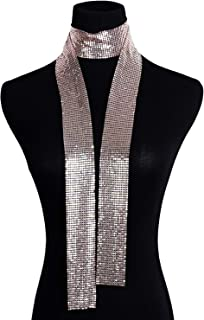 Croozy Women Glitter Sparkle Metal Sequins Neck Tie Scarf Party Evening Long Thin Skinny Tie Shawls Neckerchief