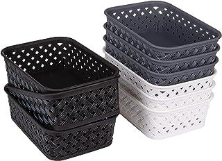 Bekith Lot de 9 Petit Panier de Rangement en Plastique Tissé Boîte de Rangement pour Bureau, Salle de Bain, Cuisine (20 x ...