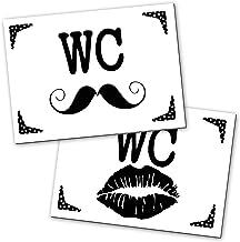 2 stuks wc-bord toiletbord wc-bord bord zwart wit lippen snaaier vrouwen + mannen 14,8 x 10,5 cm incl. kleefpunten alumini...