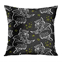 Vooft Throw Pillow Decor Square 20 x 20 Inch Bright Halloween Cartoon Style Black Monster Flying Stars Embellishment Decorative Cushion Cover Printed Pillowcase Cover Home Sofa Living Room