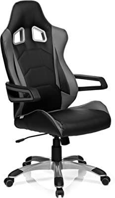 hjh OFFICE GAME PRO I - Silla gaming o de oficina, piel sintética, color negro y gris