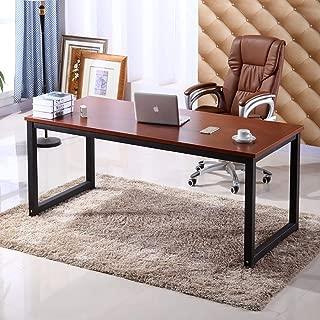 Home Office Desk, 63in Writing Desks Large Study Computer Table Workstation,Teak Wooden Top+Black Metal Leg