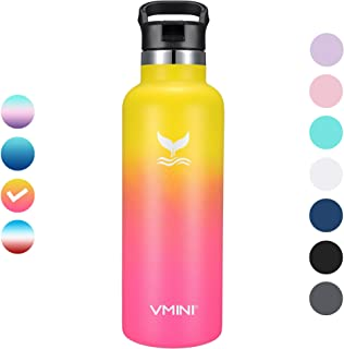Vmini Water Bottle with New Wide Handle Straw Lid,  Standrad Mouth Vacuum Insulated 18/8 Stainless Steel,  22 oz,  Gradient Yellow + Pink