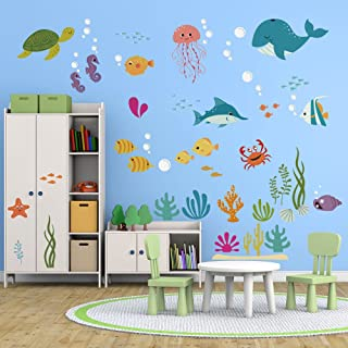 decalmile Under The Sea Dolphin Fish Wall Stickers Kids Room Wall Decor Vinyl Peel and Stick Wall Decals for Baby Nursery Childrens Bedroom Bathroom Decoration
