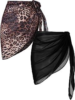 Ekouaer 2 Pieces Women Beach Wrap Short Sarong Cover Up Sheer Chiffon Swimsuit Wrap Skirts