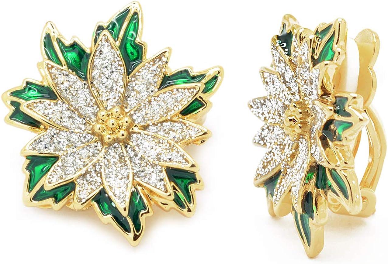 Poinsettia Christmas Clip on Earrings Gold Plated Glitter Green Enamel Women Fashion
