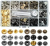 6 Colors 12.5mm Leathercraft Rivets for Leather Fabric Keadic 60 Sets Snap Fasteners Assortment Kit with 4 Installation Tools and 1 Tape Measure