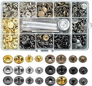 مجموعة من 120 مجموعة من أزرار كبس من الجلد، أزرار ضغط معدنية 12.5 مم مع 4 أدوات سيتر، 6 أزرار كبس جلدية ملونة للملابس، جاك...