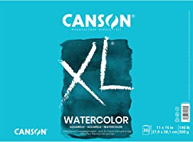 Canson Canson XL Series Watercolor Textured Paper Pad for Paint, Pencil, Ink, Charcoal, Pastel, and Acrylic, Fold Over,...